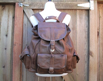 Vintage Leather Backpack Large Daypack Brown Book Bag Ruck Sack Organizer Boho Hipster Spring Fashion Moto Hobo Biker Laptop Overnight Bag
