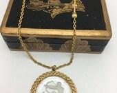 Sagittarius Necklace Trifari pendant Intaglio Necklace Vintage Assemblage Necklace Zodiac Necklace The Archer