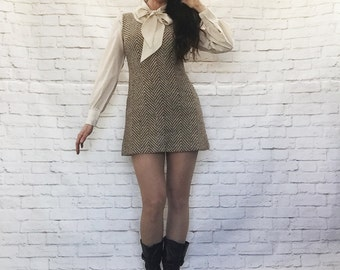 Vintage 60s Mod Herringbone Tweed Micro Mini Jumper Dress Brown Cream S