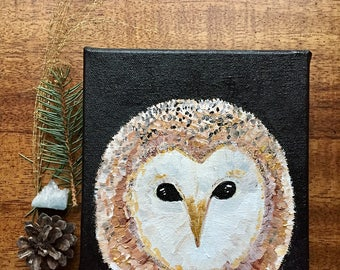 READY TO SHIP: 8x8 Owl Face Art Winter Solstice Night Sky Whimsical Woodland by MyImaginationIsYours