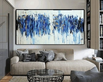 Art  Painting blue large abstract painting,canvas art,acrylic painting, turquoisewhite brown Landscape painting,   Wall Decor, wall art
