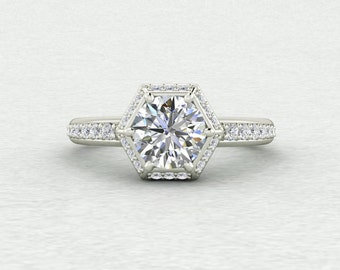 New 6.5mm Forever One Moissanite Hexagon Halo Conflict Free Diamond Engagement Ring LCDH016