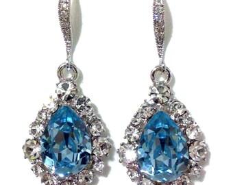 Something Blue Bridal Earrings, Aqua Earrings, Bridesmaid Earrings, Drop Earrings, Teardrop Earrings, Swarovski Crystal Jewelry Gift, BIJOUX