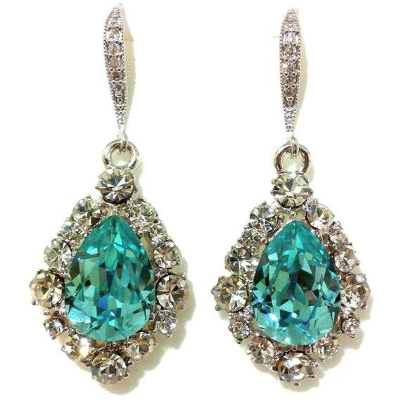 Something Blue Bridal Earrings, Turquoise Wedding Earrings, Teardrop Earrings, Swarovski Crystal Wedding Jewelry, Gift for Her, BIJOUX