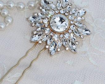 Gorgeous Large Gold Pave Pearl Crystal Hair Fork,Gold Rhinestone Hair Pin,Bridal,Weddings,Rhinestone Hair Fork,Vintage Style,Old,Gift
