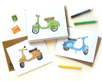 Boxed Vespa Scooter Watercolor Card Set | Set of Six Handpainted Vespa Illustration Cards Kraft Envelopes
