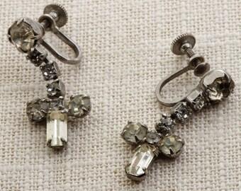 Vintage Rhinestone Earrings Clip On Cross Dangle Clipons | Vtg 7B C