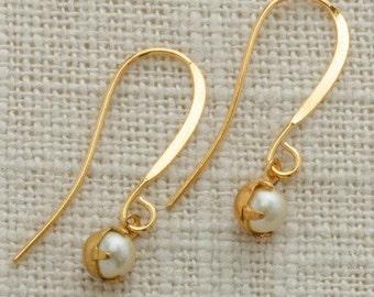 Tiny Gold & Pearl Earrings French Hooks Lavender Rhinestone Dangle Wedding Earrings Bridesmaid Flower Girl Gift USA 5mm 6H