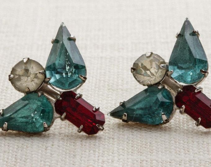 Vintage Rhinestone Earrings Clip On Red Blue Abstract Angel Clipons | Vtg 7B