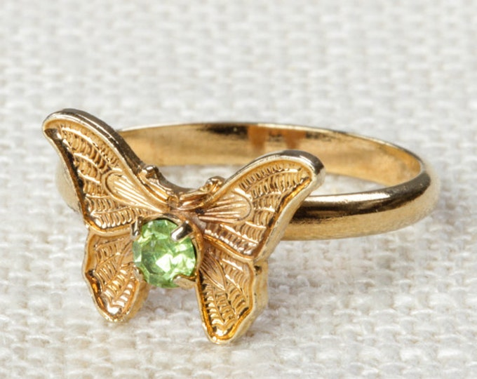 Vintage Butterfly Ring Light Green Rhinestone Small Adjustable XS or Child's Size Vintage Ring Gold Butterfly Adjustable 16R