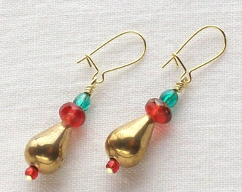 Bronze drop earrings with red & green sparkly beads // holiday jewelry // Christmas earrings