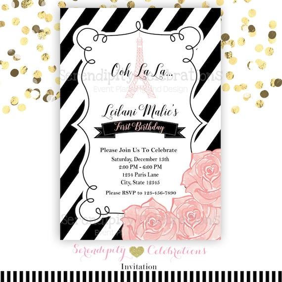 Ooh La Invitation Paris Eiffel Tower Black And White Stripes Birthday Baby Shower Invite Bridal