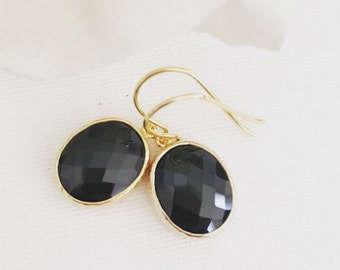 Black and Gold Earrings, Bridesmaids Earrings, Bridal Earrings, Gold Earrings, best friend gifts, gifts for her, black and gold wedding