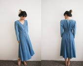 90s Maxi Denim Dress / Long Sleeve Denim Button Up Dress / Maxi Jean Dress / Long Dress / 90s Grunge Womens Buttoned Dress / Lace Up Back