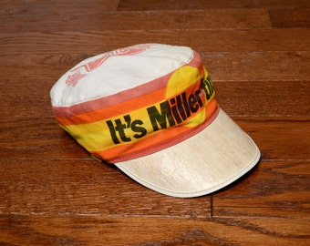 vintage beer hat 80s It's Miller Time painter cap cycling hat orange yellow white stripe High Life 1980 distressed vintage hat one size