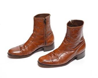 mens vintage boots 70s Florsheim Imperial Chelsea boots caramel brown distressed leather Beatle boots 1970 mod boots 8.5 8.5D