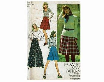 Palazzo wide legged pants pantskirt and skirt 1970s Uncut 70s Vintage Sewing Pattern Simplicity 6626 Size 16 Waist 30 Ultra flares