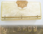 Reserved~~~~Vintage Lucite Purse//Wilardy//Clutch//Creme//Marbleized//Engraved Wilardy// New Look// Retro// Rockabilly