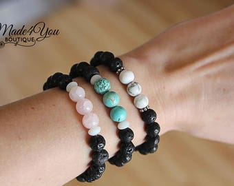 Turquoise Howlite Rose Quartz Diffuser Bracelet - Essential Oil Bracelet - Healing Bracelet - 3 Different Colors