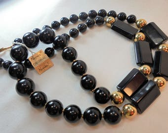 Vintage NAPIER Necklace Black Lucite Gold Plated Tone Chunky Designer Retro Art Deco Statement Runway
