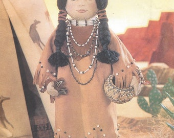 90s Linda Carr 18 Inch American Indian Doll with Iron on Transfer & Outfit Vogue Sewing Pattern 9371 UnCut Vogue Doll Collection