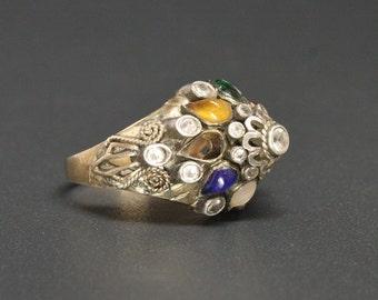 14K Thai Princess Ring Nine-Gems Nop-pa-kao in Thai Size 6