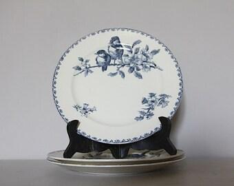 Antique French Faience Blue Transferware Favori Plate Sarreguemines