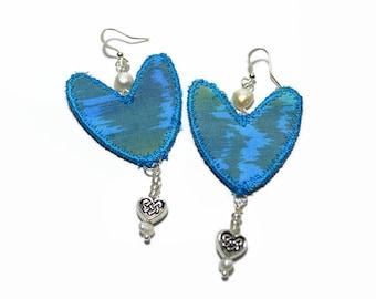 boho textile silk earrings, festival jewelery, pearl earrings, vintage silk earrings, heart shaped, blue jewellery, dangle earrings, ooak