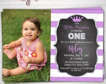 PRINCESS Chalkboard Lavender & Silver Glitter Photo Birthday Invitation,1st/ANY Birthday-Customized Digital Download OR Prints(Details Below
