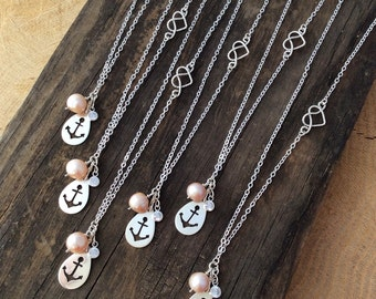 Nautical Anchor Bridesmaid Necklaces, Sterling Silver, Pearl, CZ, Custom Jewelry