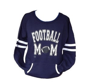 Football Mom Fleece Crew sweatshirt on choice of 5 varsity crew color sweatshirts Custom Football Mom Team sweatshir