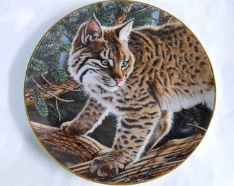 Hamilton Collectors Plate Portraits of the Wild - Watchful Eyes By James A Meger, 1994 ~~ Bobcat