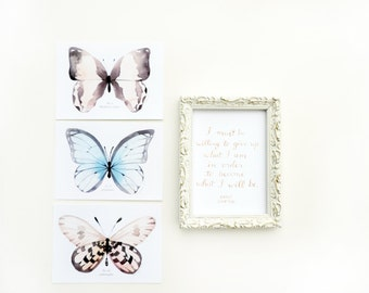 Butterfly Watercolor Postcard and Print Set 3