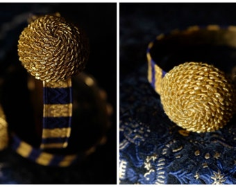 Antique ribbon bracelet, royal blue & gold striped military ribbon paired w/ an antique French gold passementerie button chic