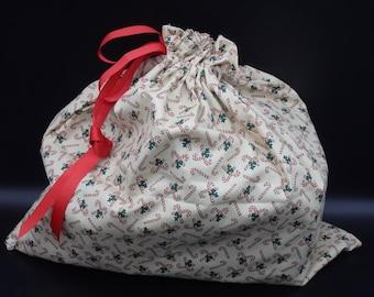 """Christmas Gift Bag, Candy Cane Bag, Drawstring Bag, Reusable Gift Wrap, Fabric Gift Bag, Holiday Gift Bag, 18"""" x 16"""""""