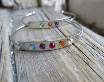 Bar Personalized Bracelet Family Tree Cuff Moonstone Silver Mother Birthstones Crystal Gift for Mom Wife Girlfriend Modern Layering Bracelet