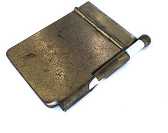 Antique Brass Dance Card and Pencil  Case