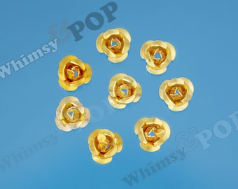 Gold Aluminum Rose Cabochons or Bead, Flower Cabochons, Aluminum Metal Flowers, 6mm Flower Cabochons, Spacer Beads (R9-140)