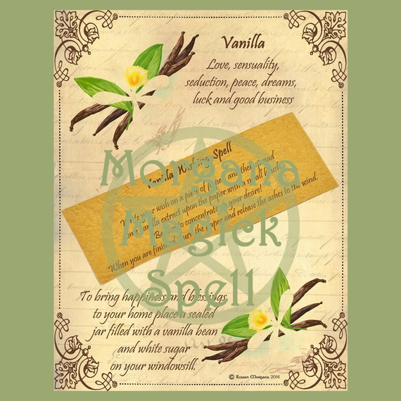 VANILLA WISHING SPELL  Digital Download,  Pagan, Book of Shadows Pages, Grimoire, Scrapbook, Spells