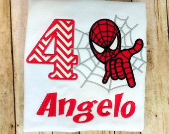 Spiderman Birthday shirt- boys, superhero shirt, birthday, little boy shirt, girls shirt, spider birthday