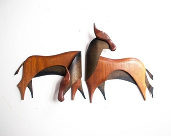 Pair of Modernist Brass and Wood Horse Wall Hangings