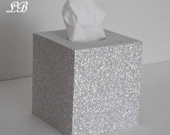 SILVER GLITTER Tissue Box Cover-Super Sparkling Octagon/Prisma Glitter - Bathroom Accessories, Office, Wedding, Home Decor,