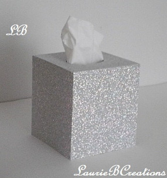 Like this item  SILVER GLITTER Tissue Box Cover Super Sparkling Octagon Prisma
