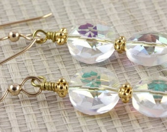 Vintage Swarovski Crystal Irisdescent Circles with Gold-Filled Decorated Beads from Bali - Rita Okrent Collection (E306)