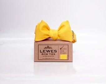 Men's self tie bow tie in sunflower yellow textured cotton and silk vintage fabric, sunflower yellow  textured cotton and silk bow tie