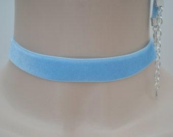 "BABY BLUE 16mm 5/8"" Plain Velvet Ribbon Choker Necklace -hv... custom made to order and 30 colour choices :)"