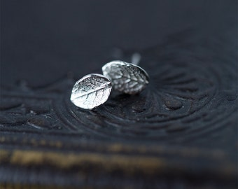 Tiny Leaf Stud Earrings, Gift for Her, Sterling Silver Leaf Earrings, Post Earrings, Wife Gift, Earrings Handmade Burnish