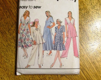 VINTAGE 1990's BOHO Fit and Flare Princess Seamed Dress or Tunic & Pants - Size (6 - 8 - 10) - UNCUT Retro Sewing Pattern Simplicity 8866