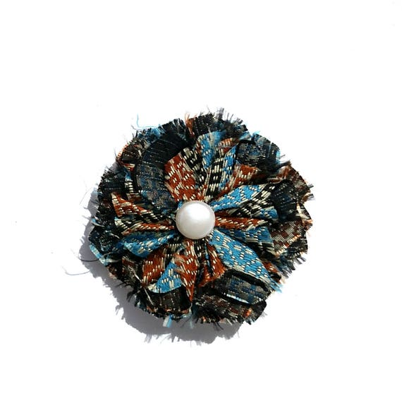 Recycled Vintage Necktie Fabric Flower Clip Pin - Blue and Gold