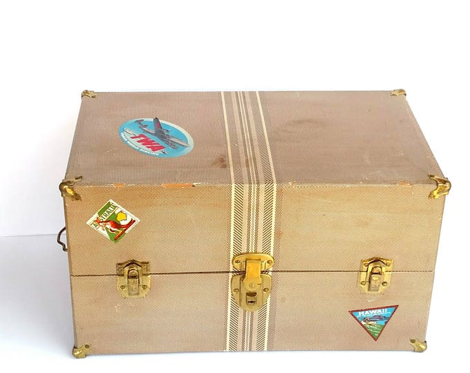 Vintage 1950's Large Doll Trunk with Travel Stickers